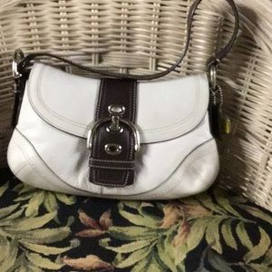 Coach white and brown leather purse